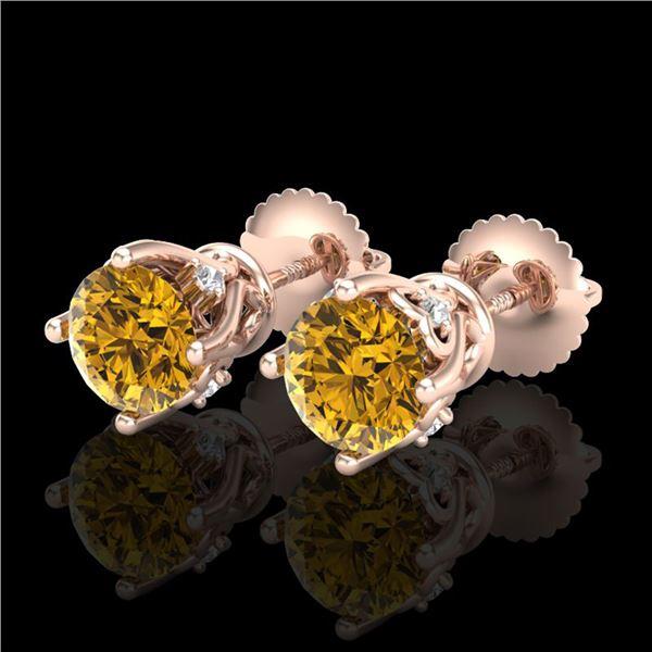 1.26 ctw Intense Fancy Yellow Diamond Art Deco Earrings 18k Rose Gold - REF-200A2N