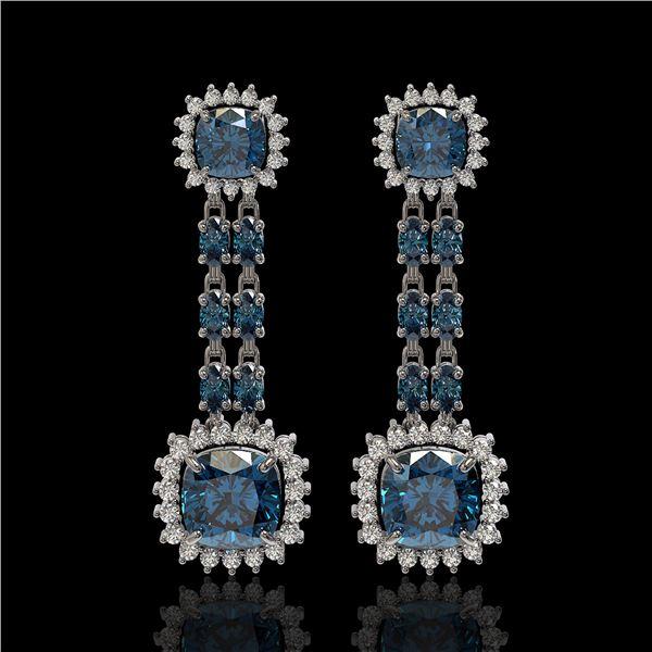 20.04 ctw London Topaz & Diamond Earrings 14K White Gold - REF-239G8W