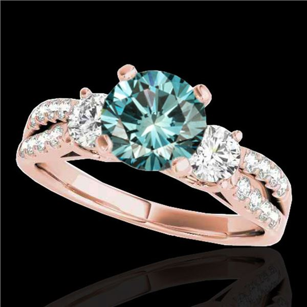 1.75 ctw SI Certified Fancy Blue Diamond 3 Stone Ring 10k Rose Gold - REF-177K3Y