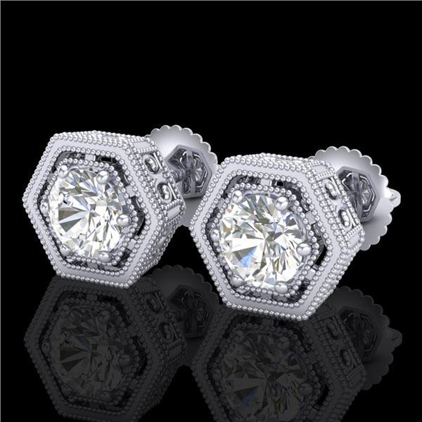 1.07 ctw VS/SI Diamond Solitaire Art Deco Stud Earrings 18k White Gold - REF-218R2K