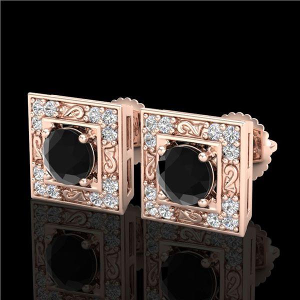 1.63 ctw Fancy Black Diamond Art Deco Stud Earrings 18k Rose Gold - REF-114X5A