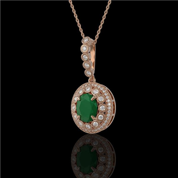 4.67 ctw Certified Emerald & Diamond Victorian Necklace 14K Rose Gold - REF-139N8F