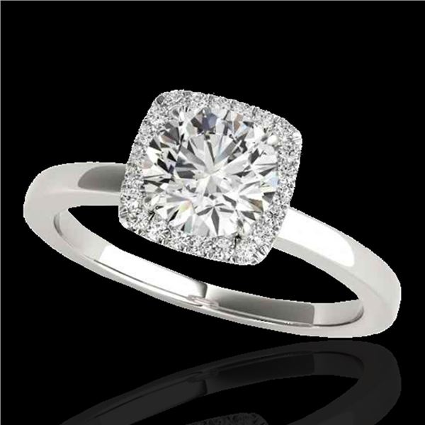 1.15 ctw Certified Diamond Solitaire Halo Ring 10k White Gold - REF-190R9K