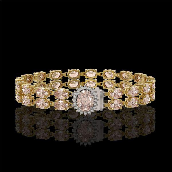 16.5 ctw Morganite & Diamond Bracelet 14K Yellow Gold - REF-263R6K