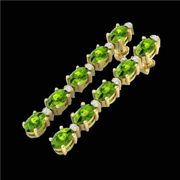 15.47 ctw Peridot & VS/SI Certified Diamond Earrings 10k Yellow Gold - REF-107K5Y