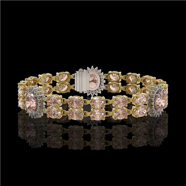 17.3 ctw Morganite & Diamond Bracelet 14K Yellow Gold - REF-302W2H