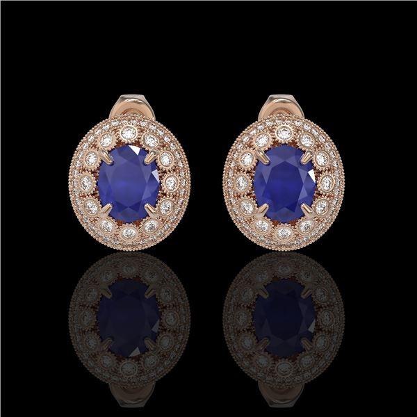 8.84 ctw Certified Sapphire & Diamond Victorian Earrings 14K Rose Gold - REF-214K5Y