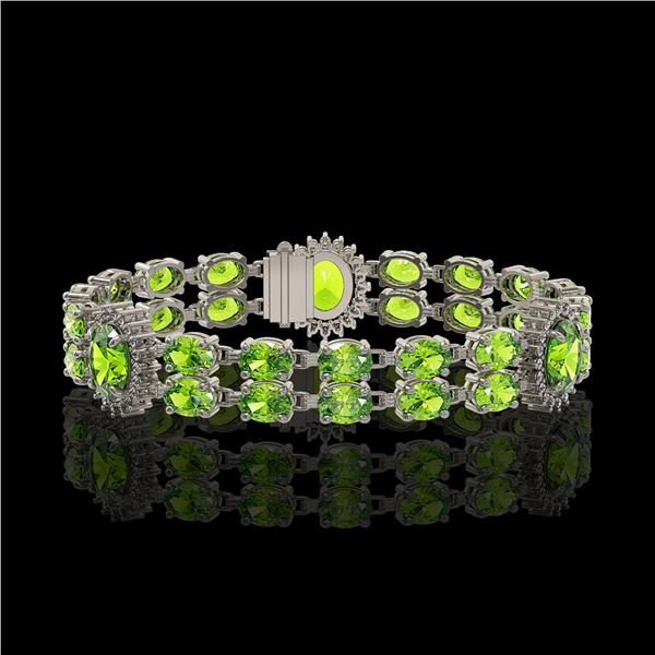 18.66 ctw Peridot & Diamond Bracelet 14K White Gold - REF-254H5R