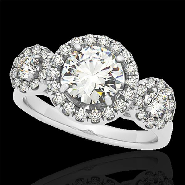 1.75 ctw Certified Diamond Solitaire Halo Ring 10k White Gold - REF-135N2F