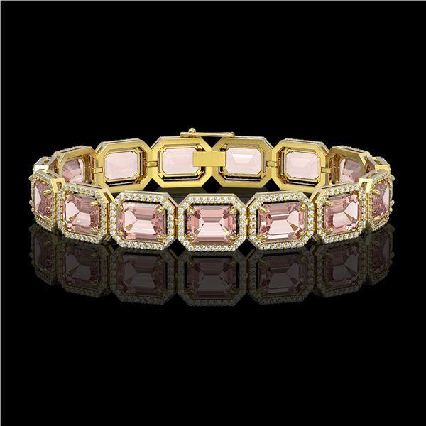 37.11 ctw Morganite & Diamond Micro Pave Halo Bracelet 10k Yellow Gold - REF-787X3A