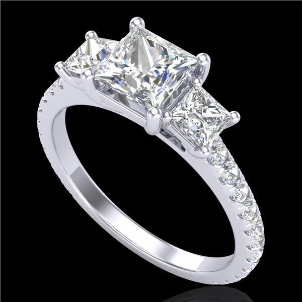2.14 ctw Princess VS/SI Diamond Art Deco 3 Stone Ring 18k White Gold - REF-454R5K