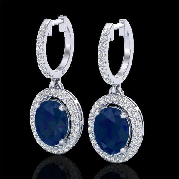 4.25 ctw Sapphire & Micro Pave VS/SI Diamond Earrings 18k White Gold - REF-107F3M