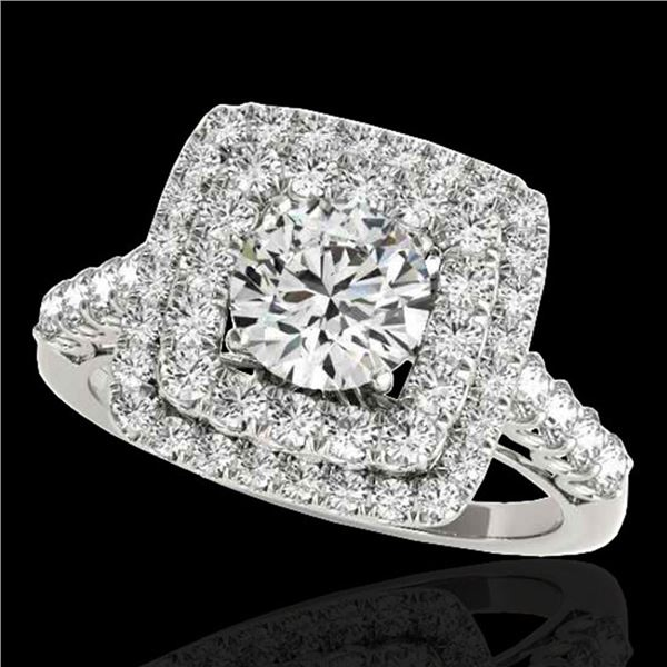 2.3 ctw Certified Diamond Solitaire Halo Ring 10k White Gold - REF-286K4Y