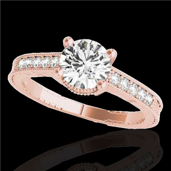 1.2 ctw Certified Diamond Solitaire Antique Ring 10k Rose Gold - REF-188K2Y