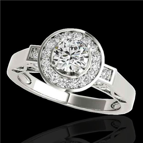 1.75 ctw Certified Diamond Solitaire Halo Ring 10k White Gold - REF-259N3F