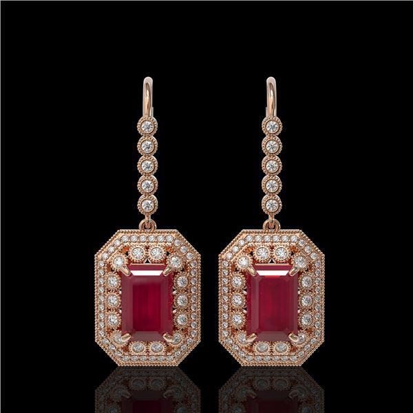 14.16 ctw Certified Ruby & Diamond Victorian Earrings 14K Rose Gold - REF-318R2K