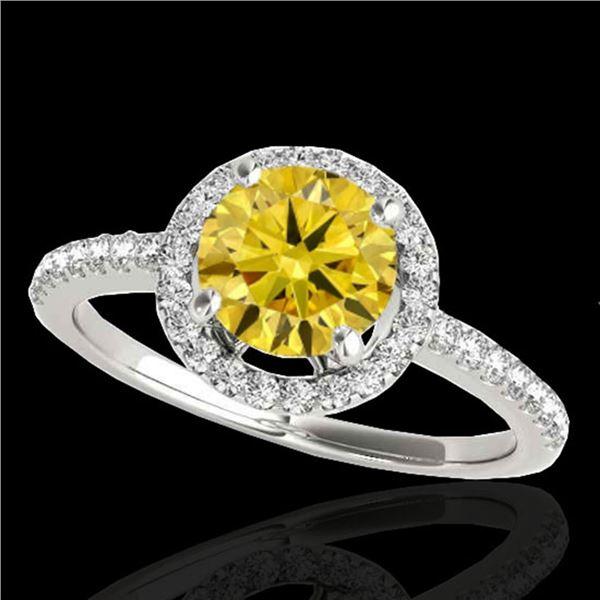 1.4 ctw Certified SI/I Fancy Intense Yellow Diamond Ring 10k White Gold - REF-190A9N