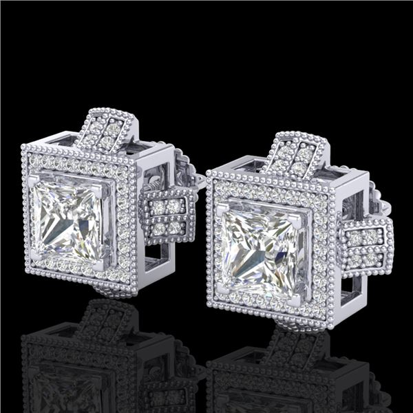2.75 ctw Princess VS/SI Diamond Micro Pave Stud Earrings 18k White Gold - REF-684H3R