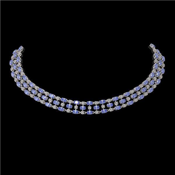 35.93 ctw Tanzanite & Diamond Necklace 10K White Gold - REF-527W3H