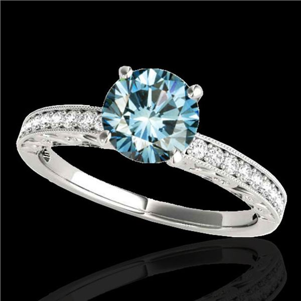 1.43 ctw SI Certified Blue Diamond Solitaire Antique Ring 10k White Gold - REF-163W6H