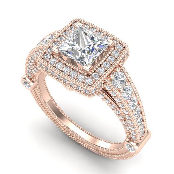2.53 ctw Princess VS/SI Diamond Solitaire Art Deco Ring 18k Rose Gold - REF-509R3K