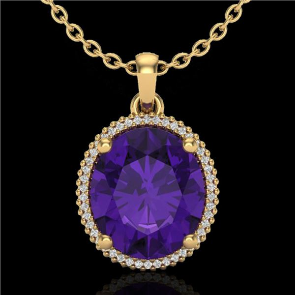 10 ctw Amethyst & Micro Pave VS/SI Diamond Necklace 18k Yellow Gold - REF-78K2Y