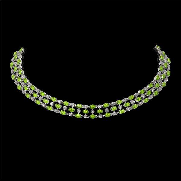 37.97 ctw Peridot & Diamond Necklace 10K White Gold - REF-427F3M
