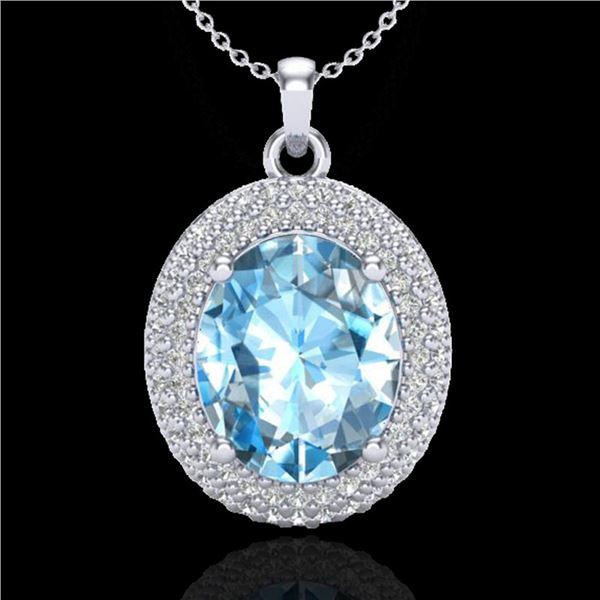 5 ctw Sky Blue Topaz & Micro Pave Diamond Necklace 18k White Gold - REF-92K5Y