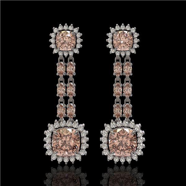 17.42 ctw Morganite & Diamond Earrings 14K White Gold - REF-431W3H