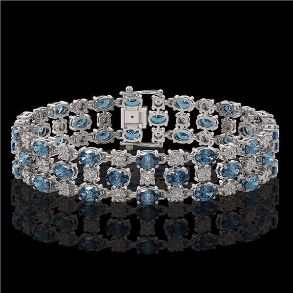 25.07 ctw London Topaz & Diamond Bracelet 10K White Gold - REF-227M3G