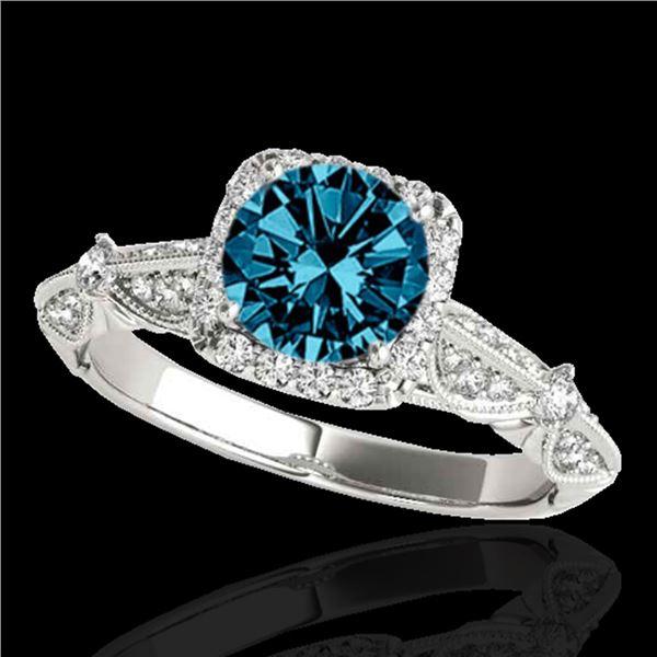1.36 ctw SI Certified Fancy Blue Diamond Halo Ring 10k White Gold - REF-129N5F