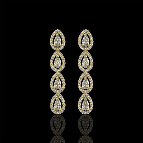 3.84 ctw Pear Cut Diamond Micro Pave Earrings 18K Yellow Gold - REF-334Y6X