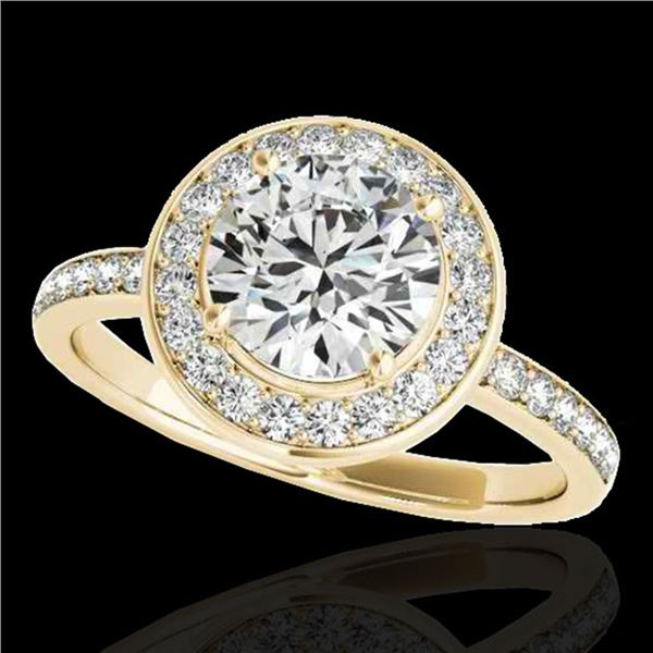 1.65 ctw Certified Diamond Solitaire Halo Ring 10k Yellow Gold - REF-252R3K