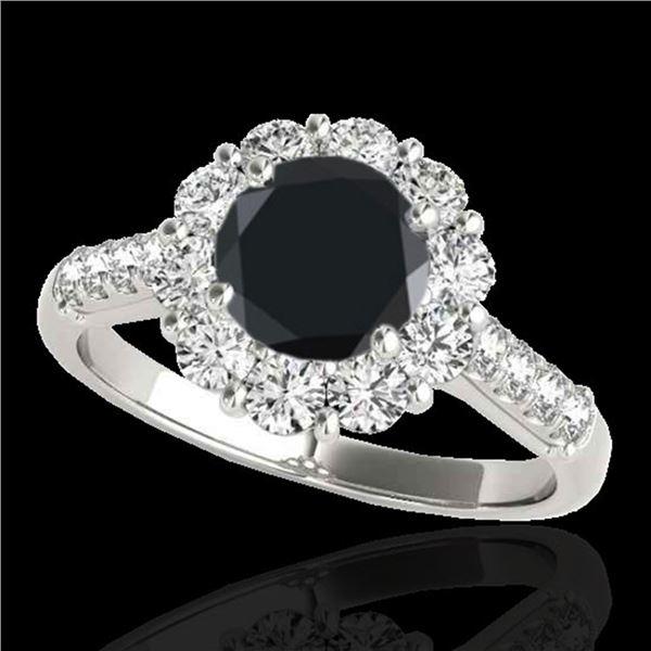 2.75 ctw Certified VS Black Diamond Solitaire Halo Ring 10k White Gold - REF-89W8H