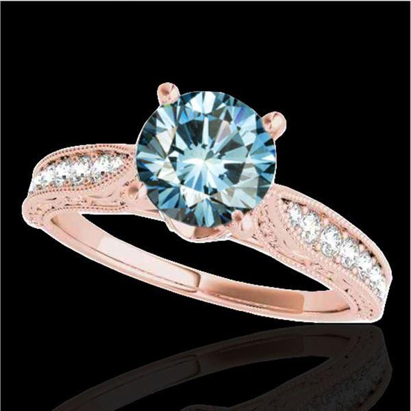 1.5 ctw SI Certified Fancy Blue Diamond Antique Ring 10k Rose Gold - REF-166Y4X