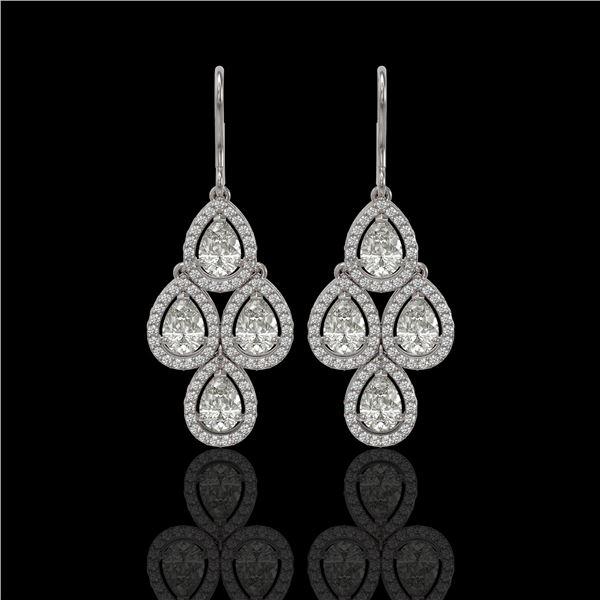 5.22 ctw Pear Cut Diamond Micro Pave Earrings 18K White Gold - REF-727R2K