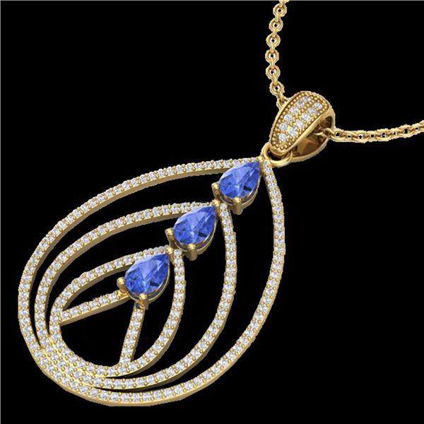 2 ctw Tanzanite & Micro VS/SI Diamond Designer Necklace 18k Yellow Gold - REF-163Y6X