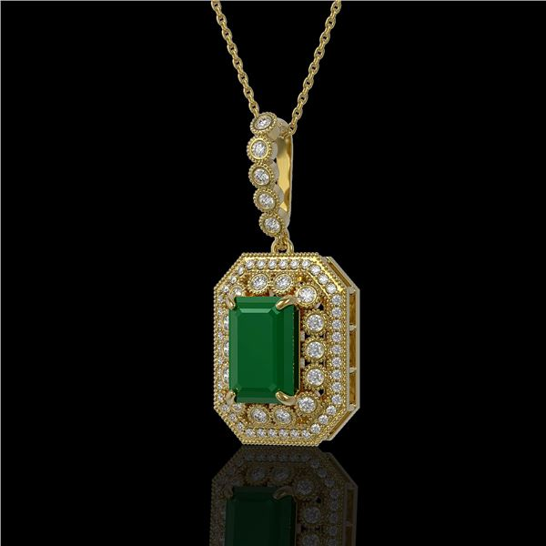 7.18 ctw Certified Emerald & Diamond Victorian Necklace 14K Yellow Gold - REF-172H8R