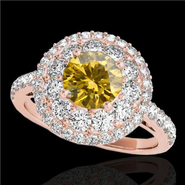 2.09 ctw Certified SI/I Fancy Intense Yellow Diamond Ring 10k Rose Gold - REF-231G8W