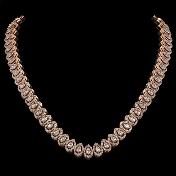 24.19 ctw Pear Cut Diamond Micro Pave Necklace 18K Rose Gold - REF-2092W6H