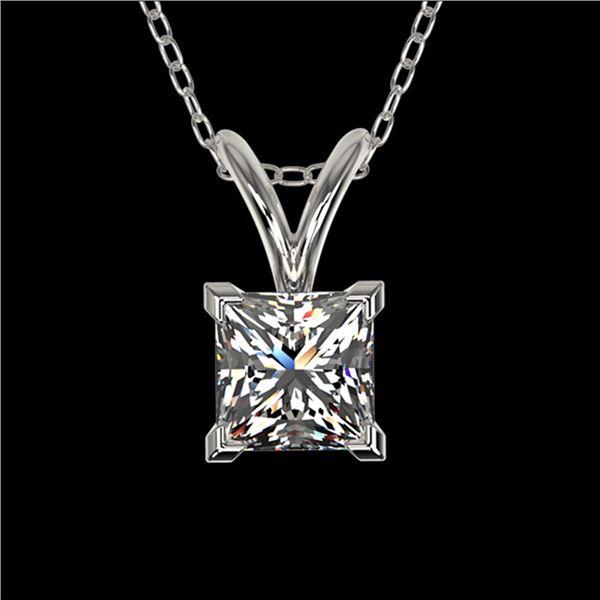 0.50 ctw Certified VS/SI Quality Princess Diamond Necklace 10k White Gold - REF-65W2H
