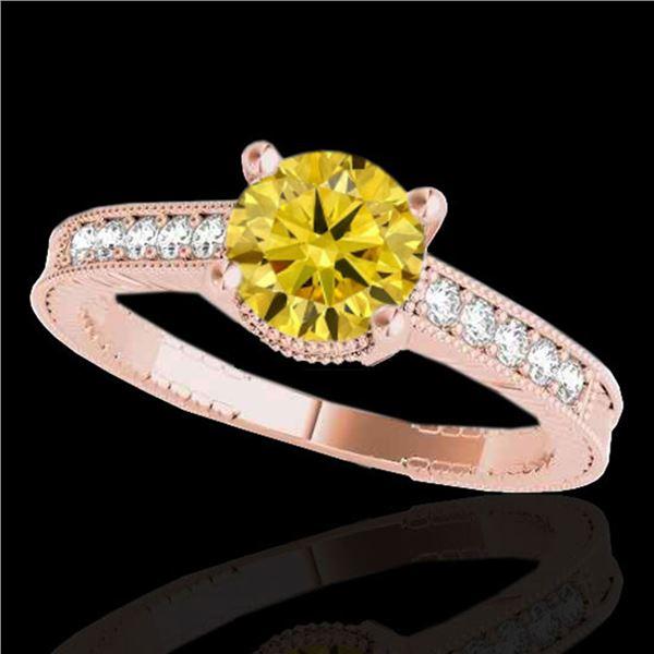 1.75 ctw Certified SI Intense Yellow Diamond Antique Ring 10k Rose Gold - REF-313H6R