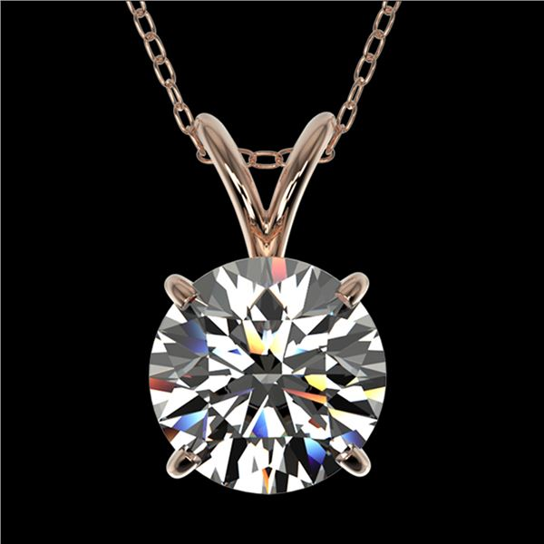 1.55 ctw Certified Quality Diamond Necklace 10k Rose Gold - REF-224G8W