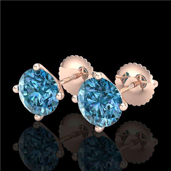 2.5 ctw Fancy Intense Blue Diamond Art Deco Earrings 18k Rose Gold - REF-265W9H