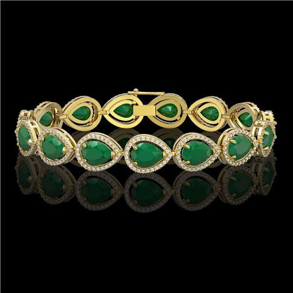 30.06 ctw Emerald & Diamond Micro Pave Halo Bracelet 10k Yellow Gold - REF-393Y3X