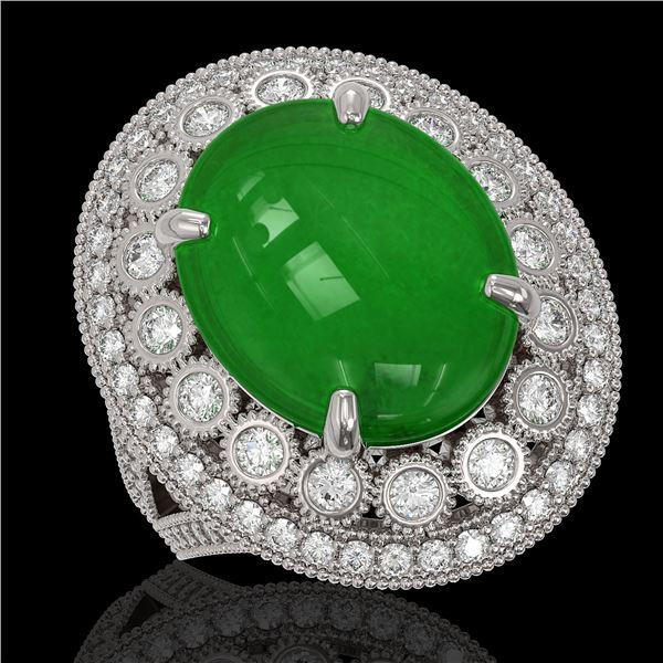 9.27 ctw Jade & Diamond Victorian Ring 14K White Gold - REF-245R5K