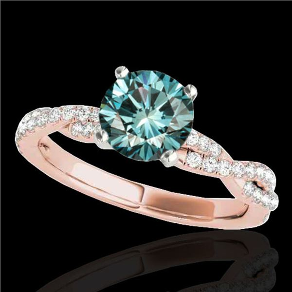 1.25 ctw SI Certified Fancy Blue Diamond Solitaire Ring 10k Rose Gold - REF-114A4N
