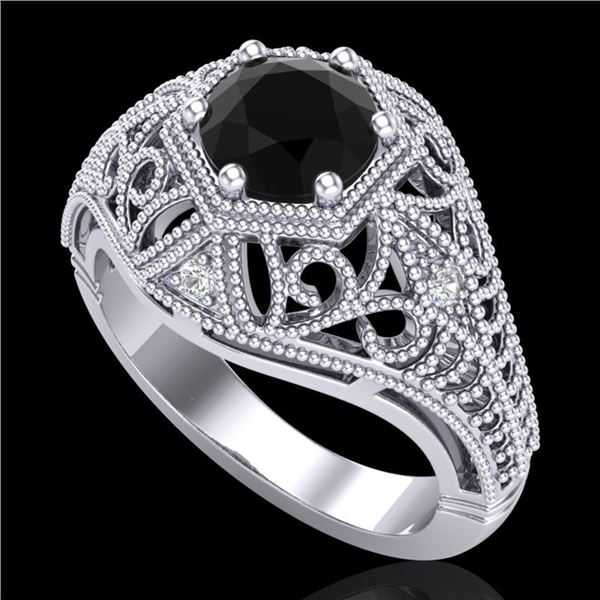 1.07 ctw Fancy Black Diamond Engagment Art Deco Ring 18k White Gold - REF-85M5G