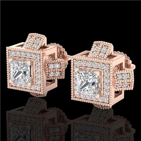 1.73 ctw Princess VS/SI Diamond Micro Pave Stud Earrings 18k Rose Gold - REF-254K5Y