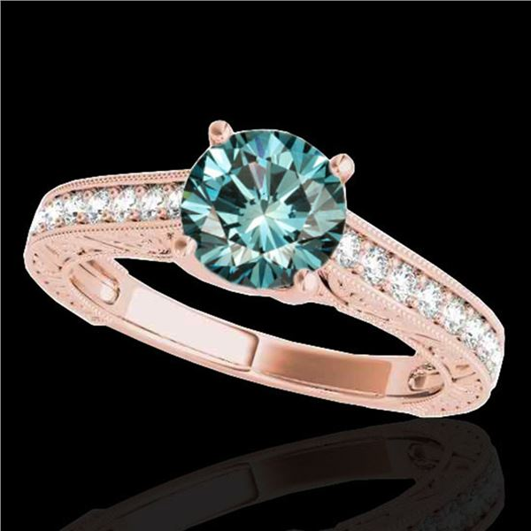 1.32 ctw SI Certified Fancy Blue Diamond Solitaire Ring 10k Rose Gold - REF-121K4Y